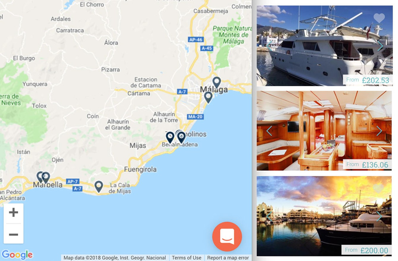 Stay on a boat on the Costa del Sol